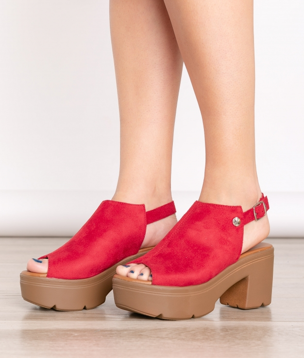 Sandale Talon Támesis - Rouge