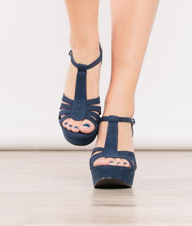 Sandália de Salto Varena - Azul Marino