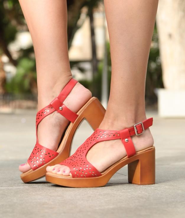 Sandalia De Tacón Qere- Vermelho