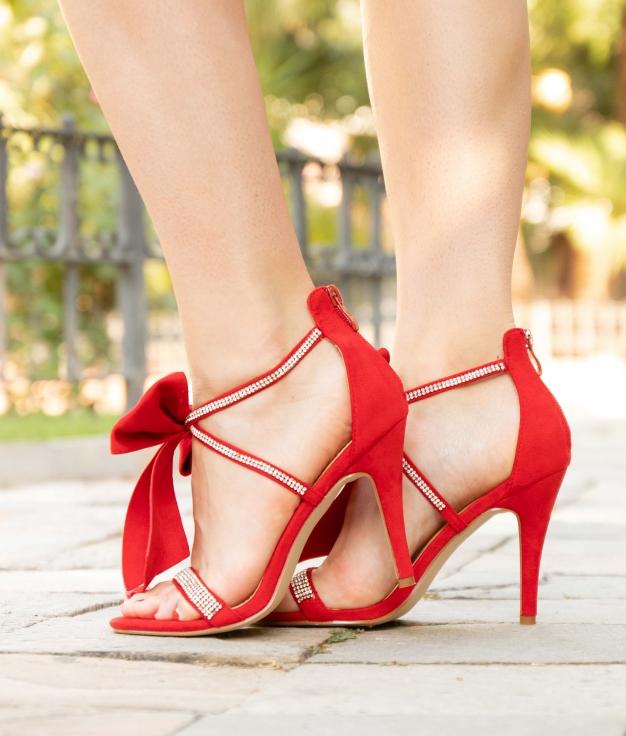 Sandália de Salto Rebe - Vermelho