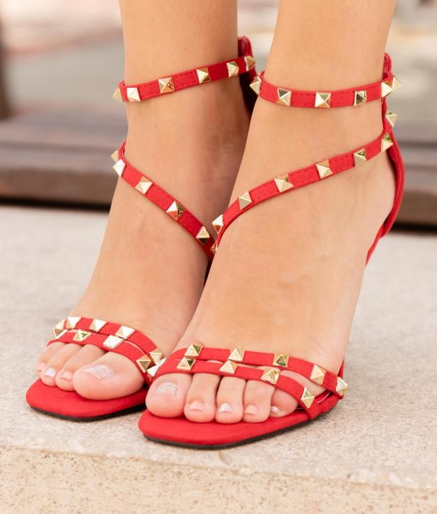 Sandália de Salto Valin - Vermelho