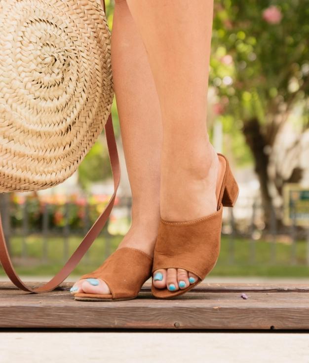 Sandália De Salto Ergo - Camelo