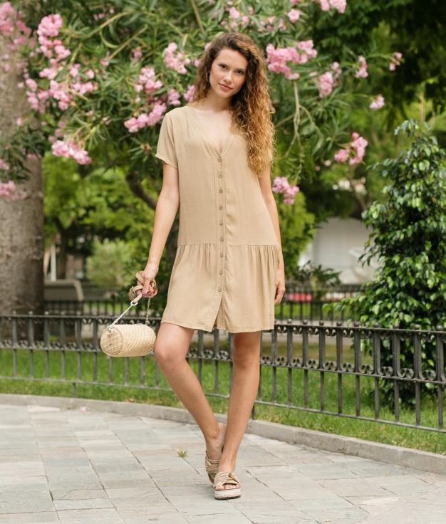 Vestido Bias - Camelo