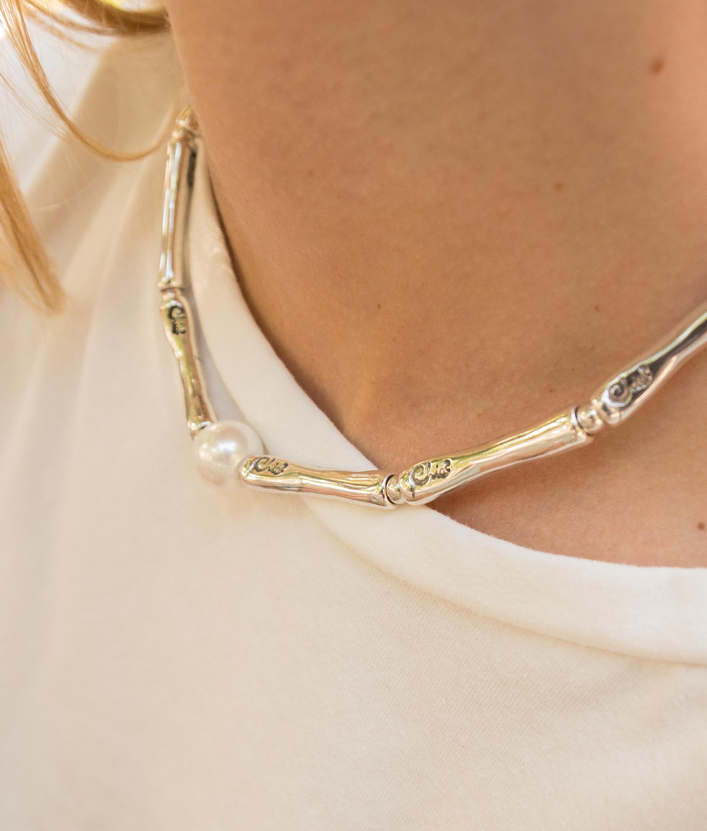 Collana Bambú Perla - Argento