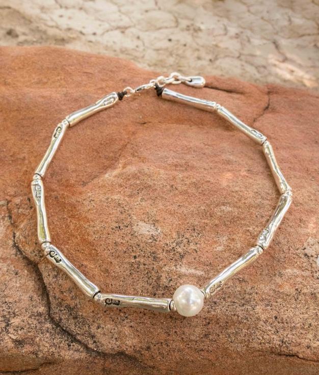 Necklace Bambú Perla - Silver