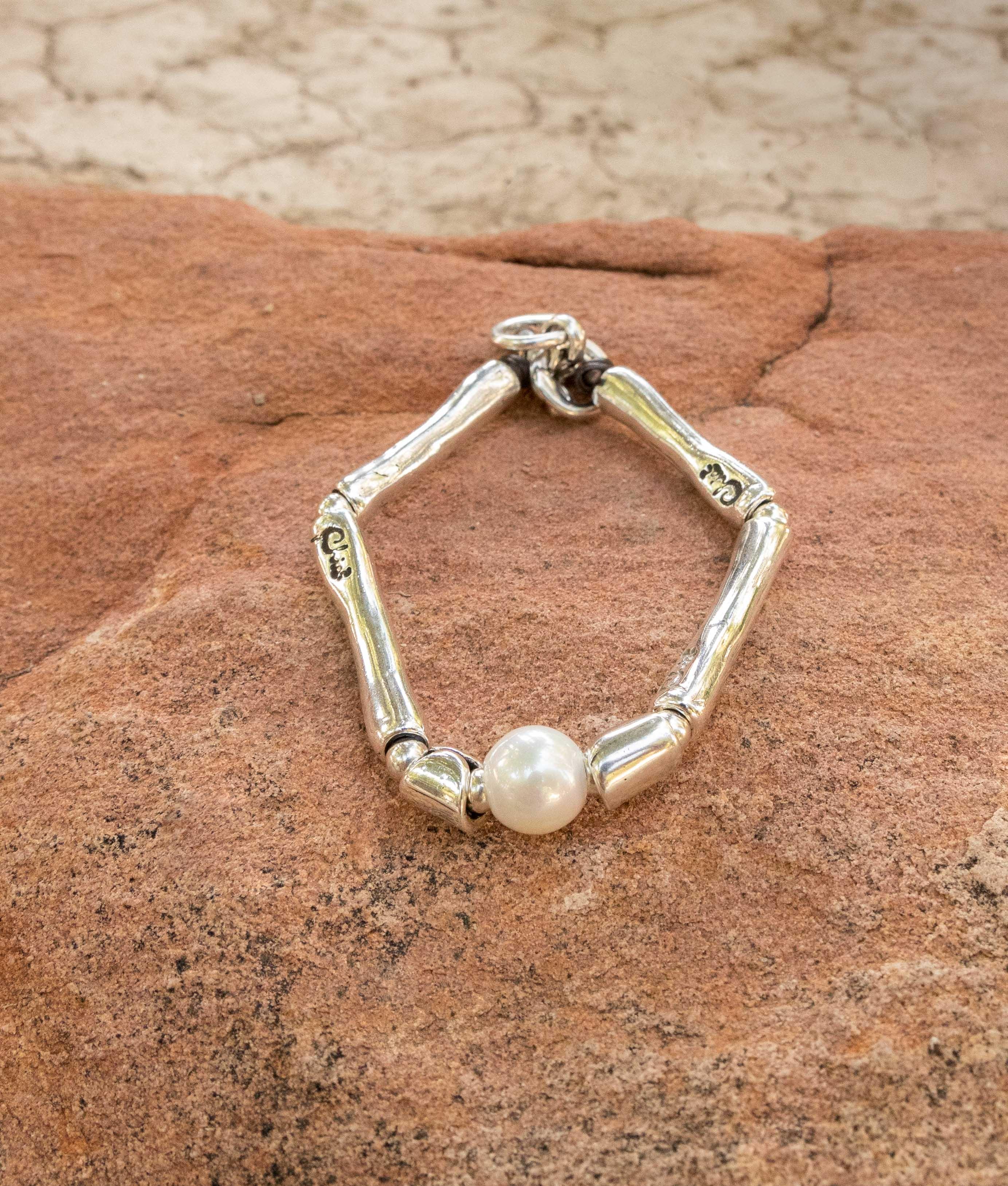 Bracelet Bambú Perla - Argent