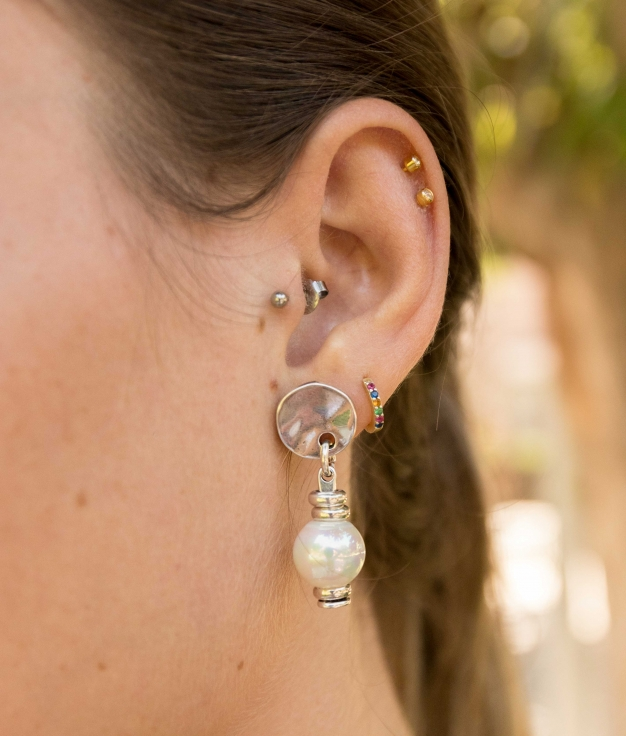 Earrings Primavera Perla - Silver