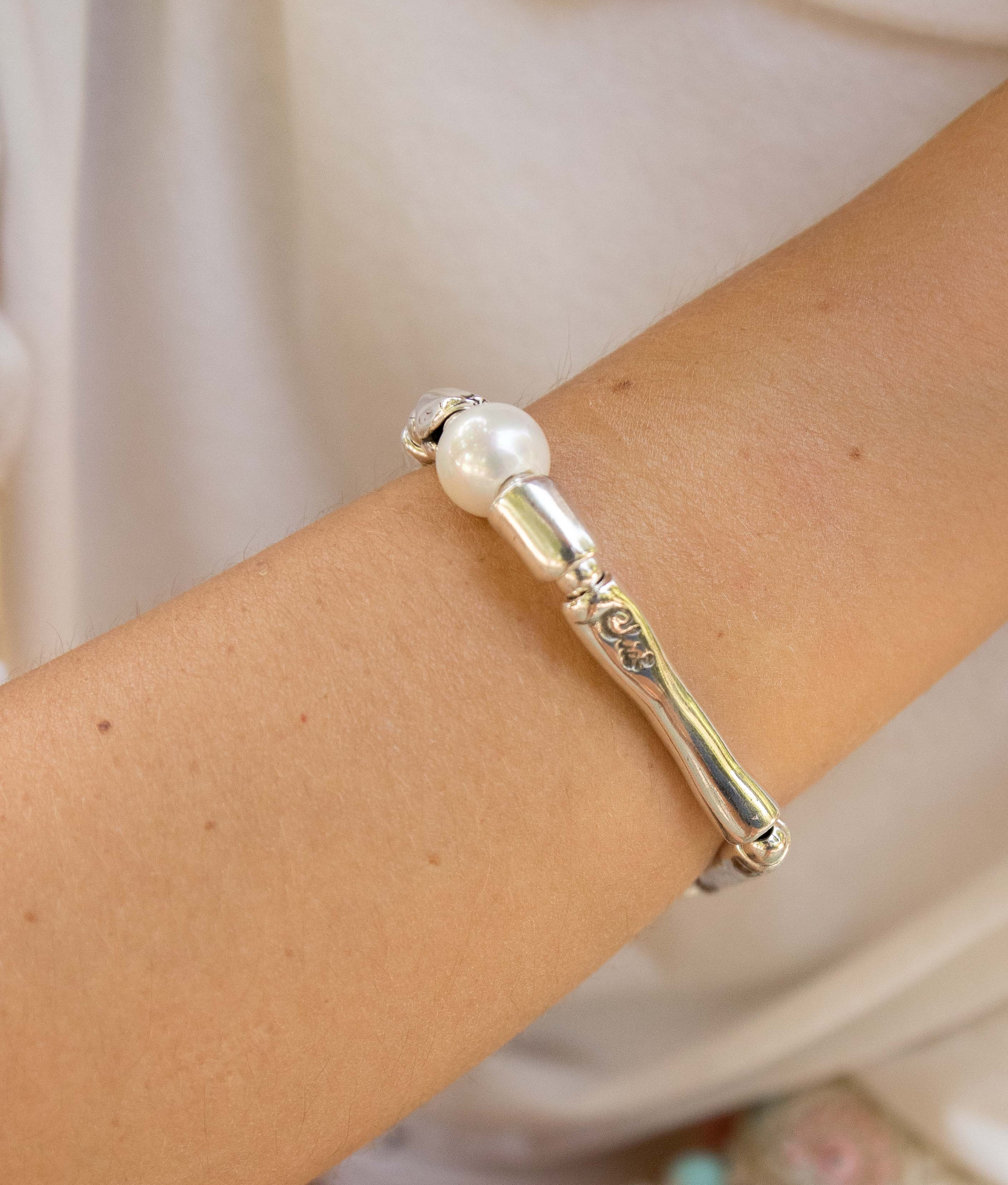 Braccialetto Bambú Perla - Argento