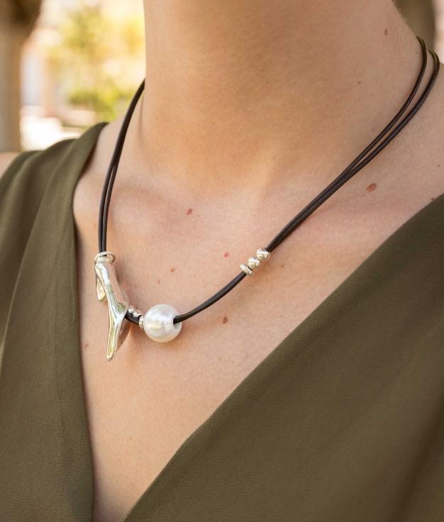 Necklace Peta-lo Perla - Silver