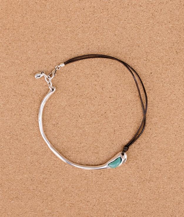Necklace Baobab Cuero - Aquamarine