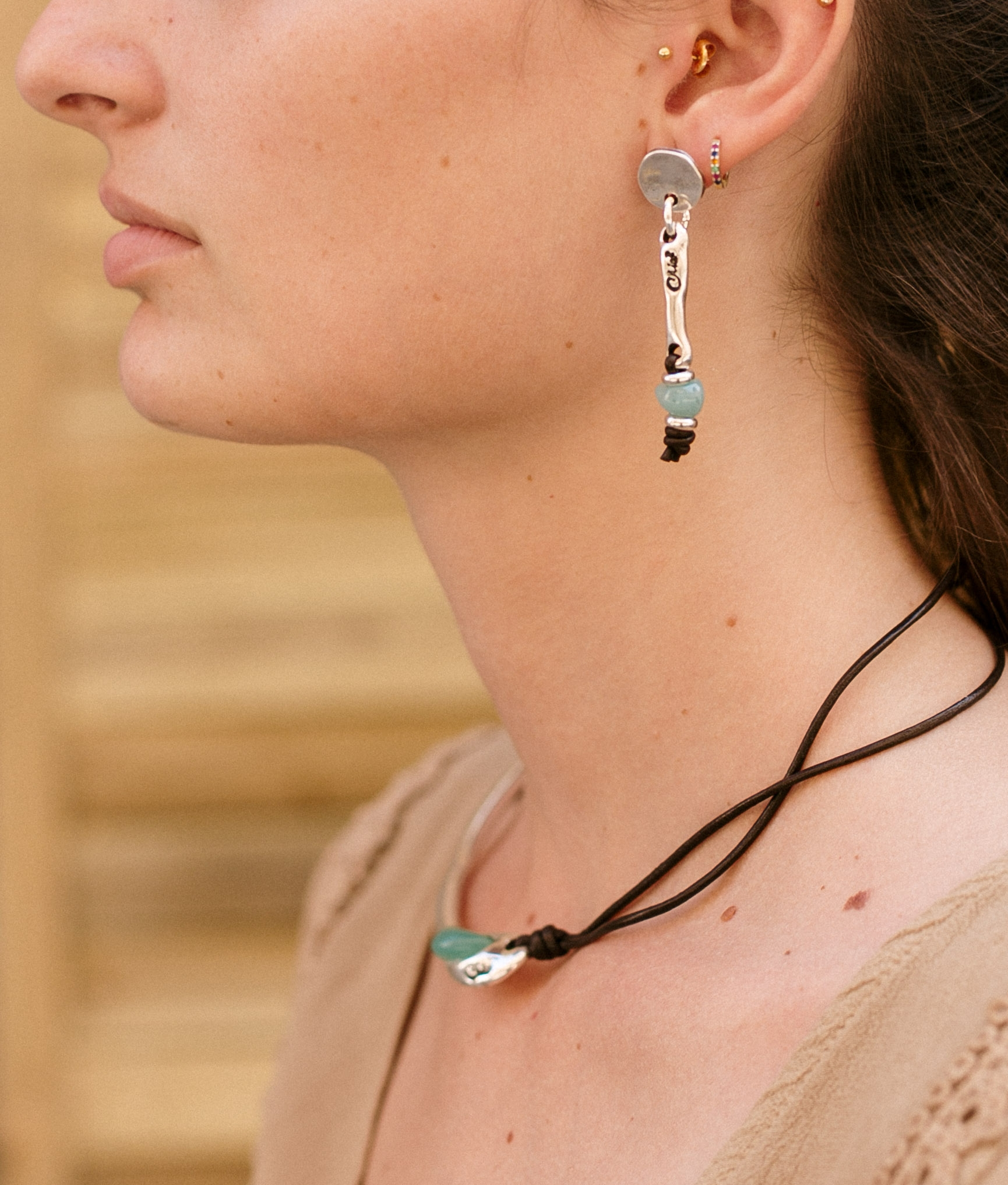 Earrings Baobab Cuero - Aquamarine