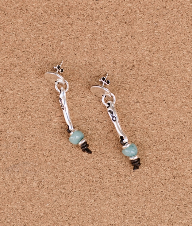 Earrings Baobab Cuero - Aquamarine
