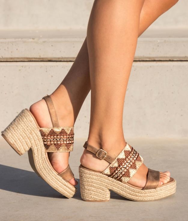 Sandália de Salto Mecta - Camelo