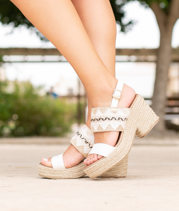 Sandália de Salto Mecta - Branco