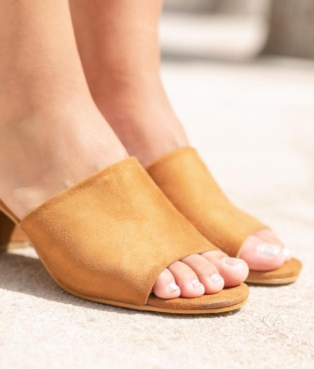 Sandália de Salto None - Camelo