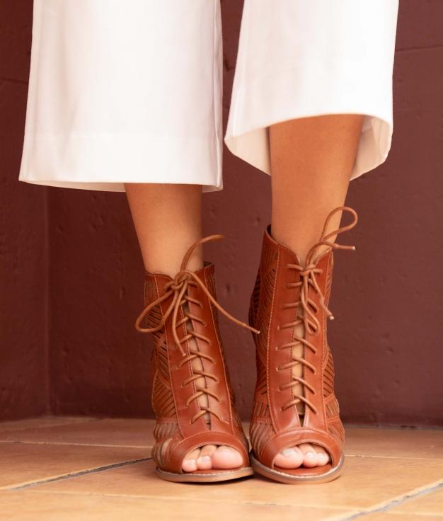 Sandália de Salto Lime - Camelo