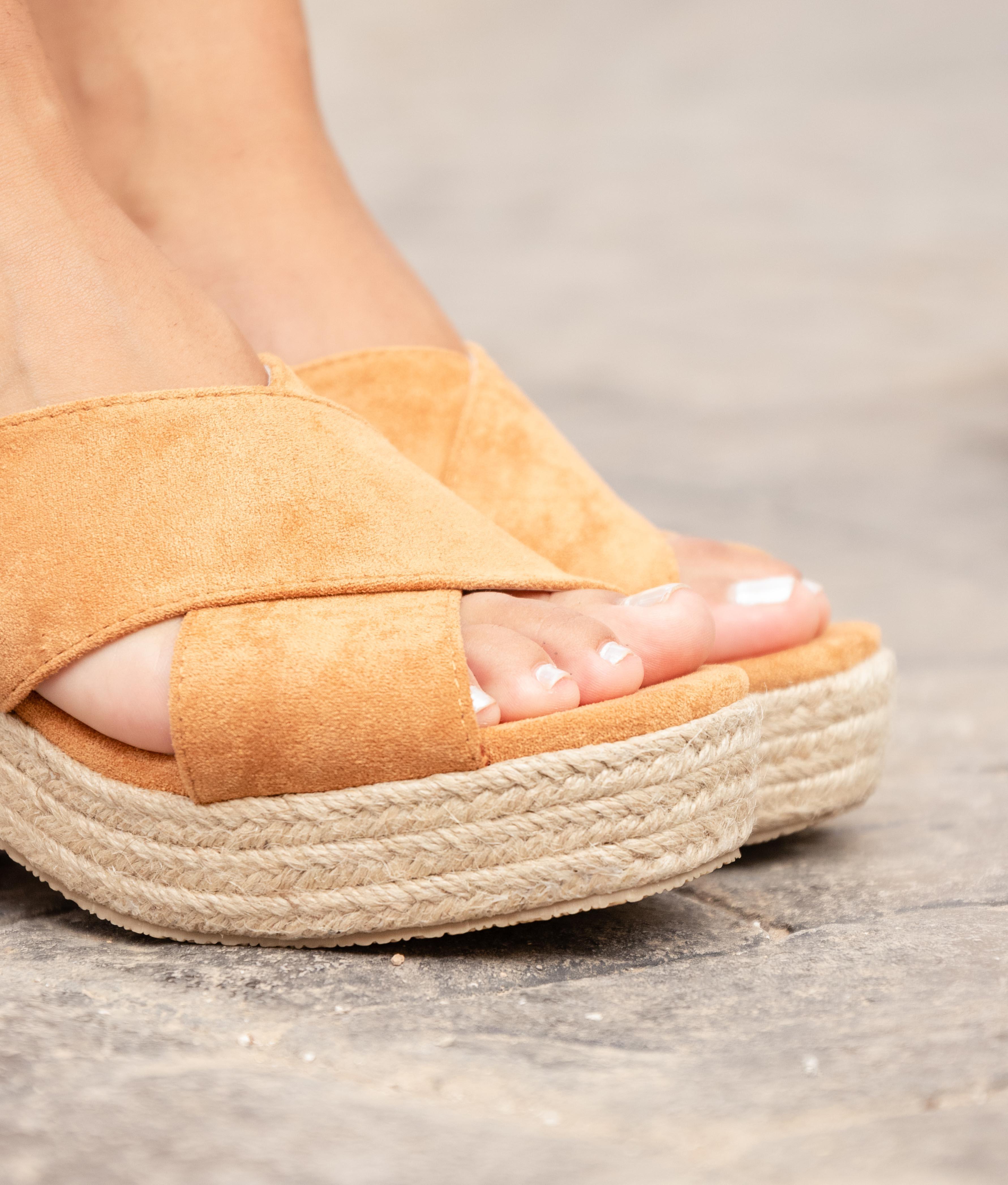 Sandalia de Tacón Pret - Camel