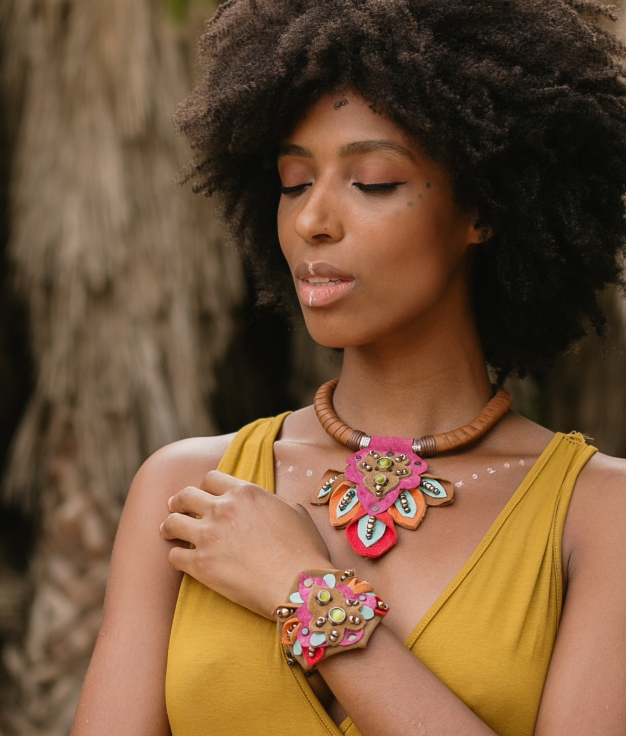 Necklace Mossi - Brown