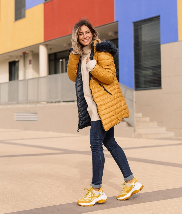 Casaco Reversível Mesir - amarelo e azul