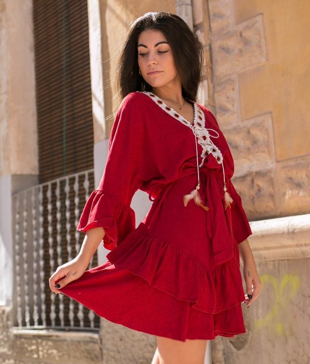 Vestido Buren - Grená