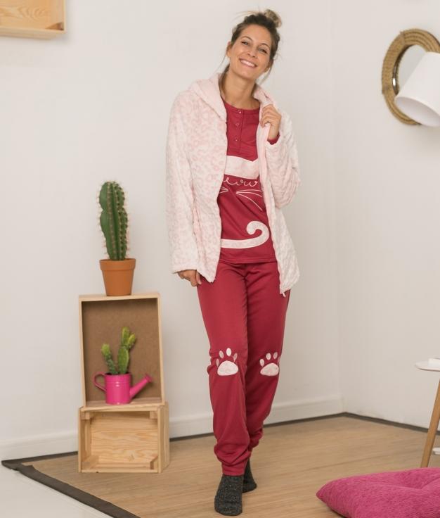 Conjunto Pijama y Chaqueta Hotin - Granate