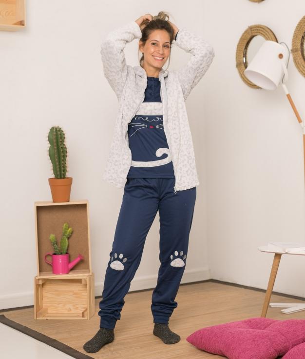 Conjunto Pijama y Chaqueta Hotin - Azul