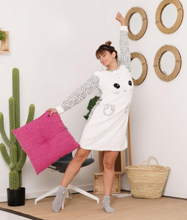 Vestido Pijama Sinete - Cinza