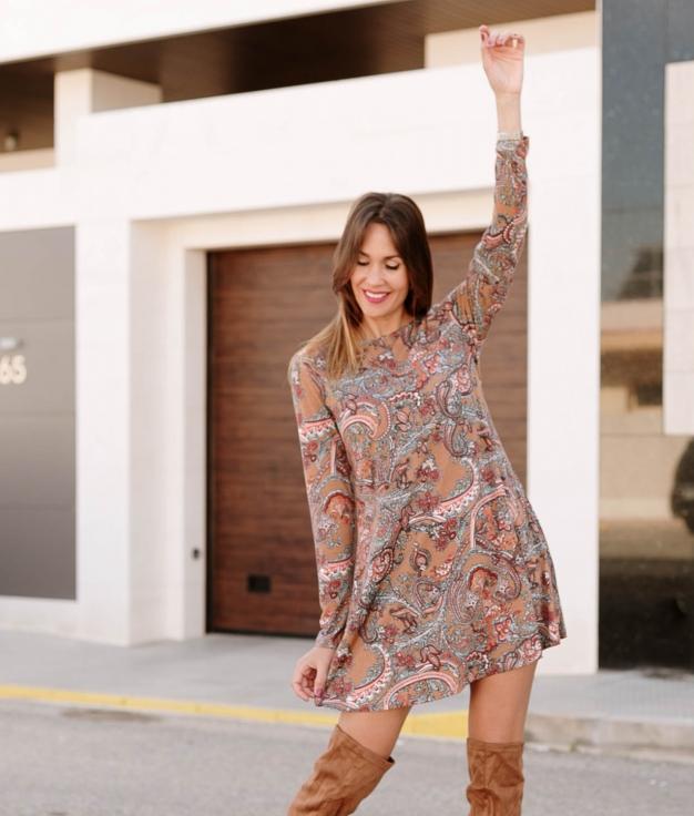 Dress Tieta - Brown