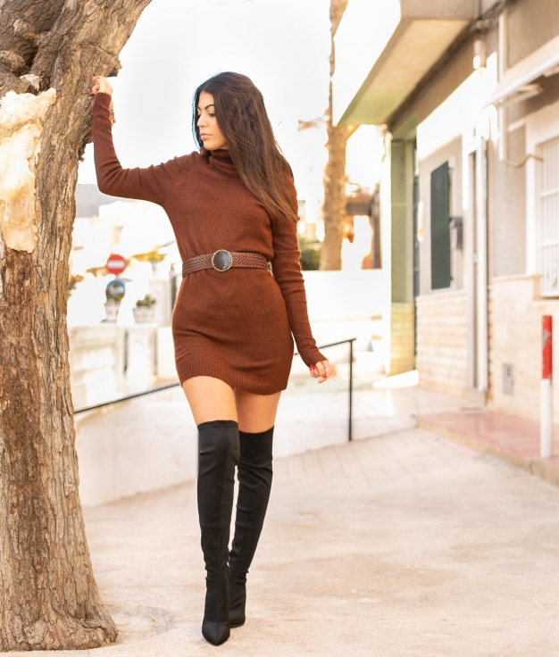 Vestido Creseto - Marrom