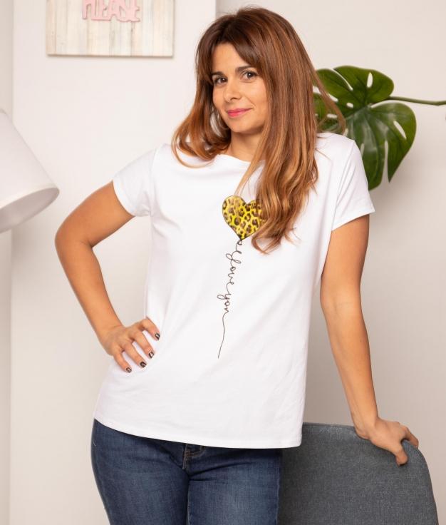 Camiseta Corazón Leopardo - Camel
