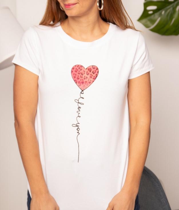 Camiseta Corazón Leopardo - Fucsia