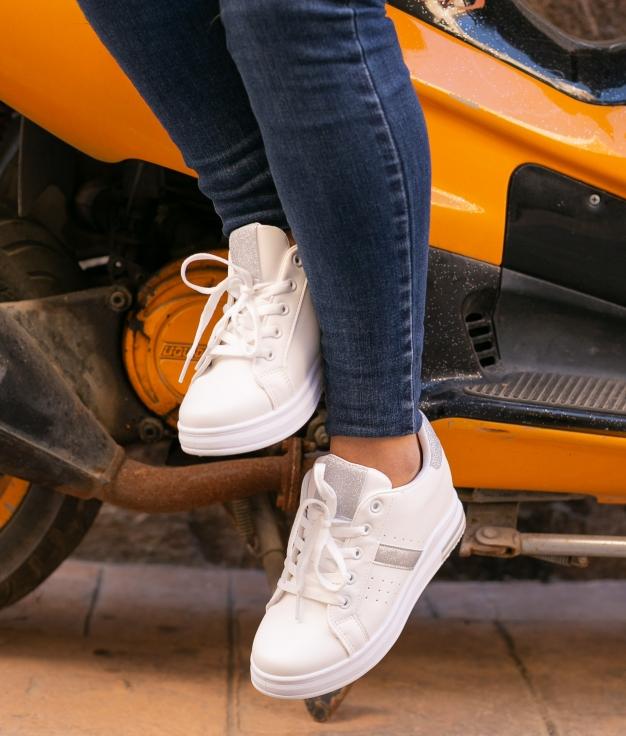 Sneakers Sofun - Plata/Blanco