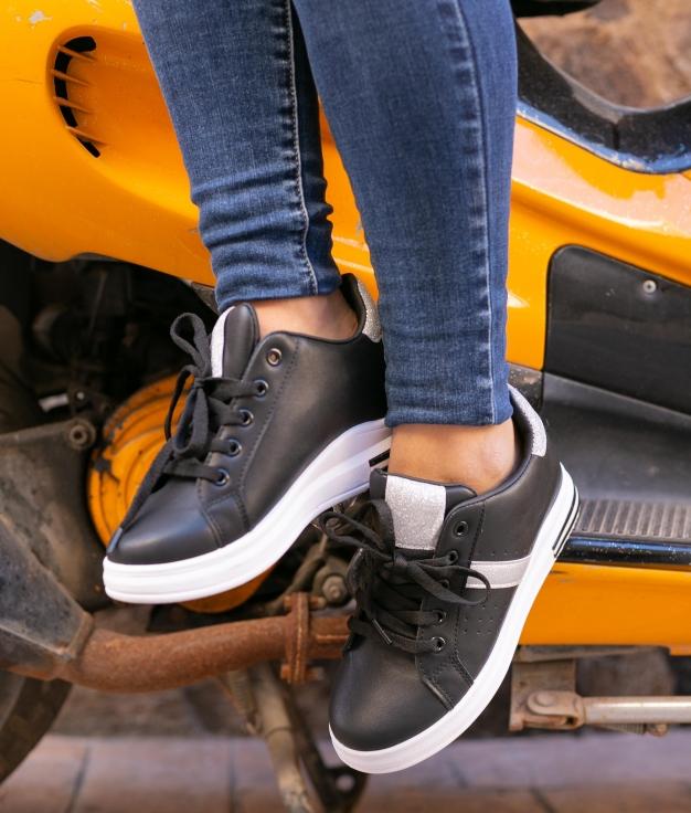 Sneakers Sofun - Plata/Negro