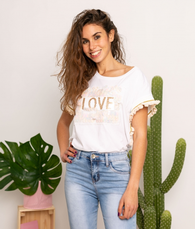 T-shirt Sparkle - Beige