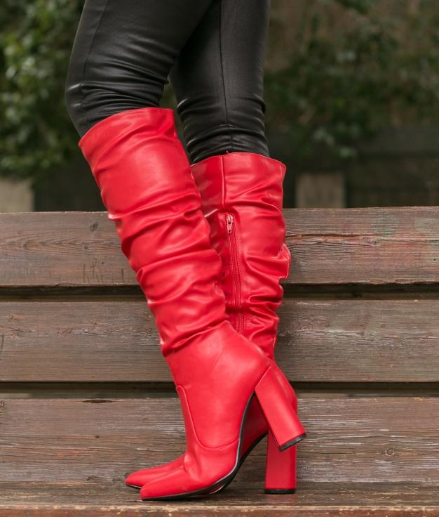 Knee-length Boot Creler - Red