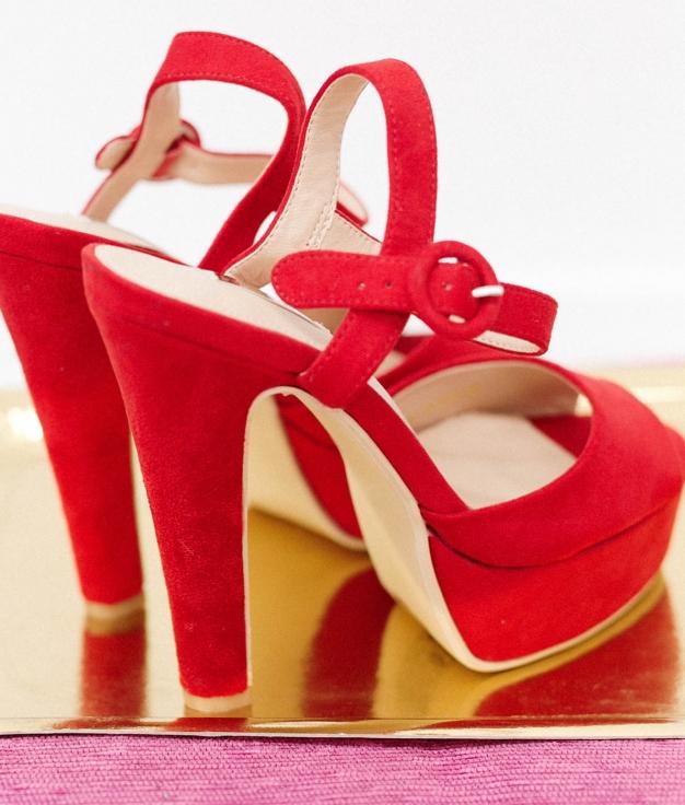 Sandália de Salto Benu - Vermelho