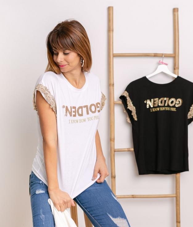 T-shirt Golden - Blanco