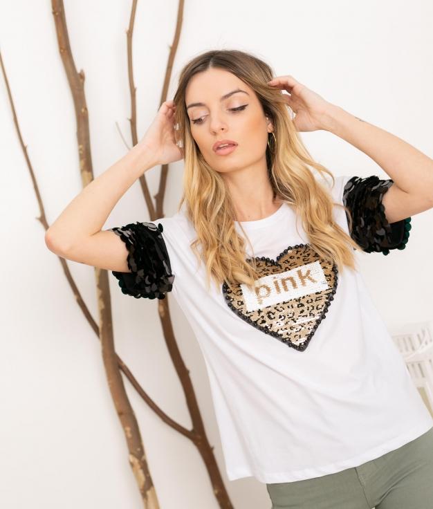 T-shirt Pinker - Blanc