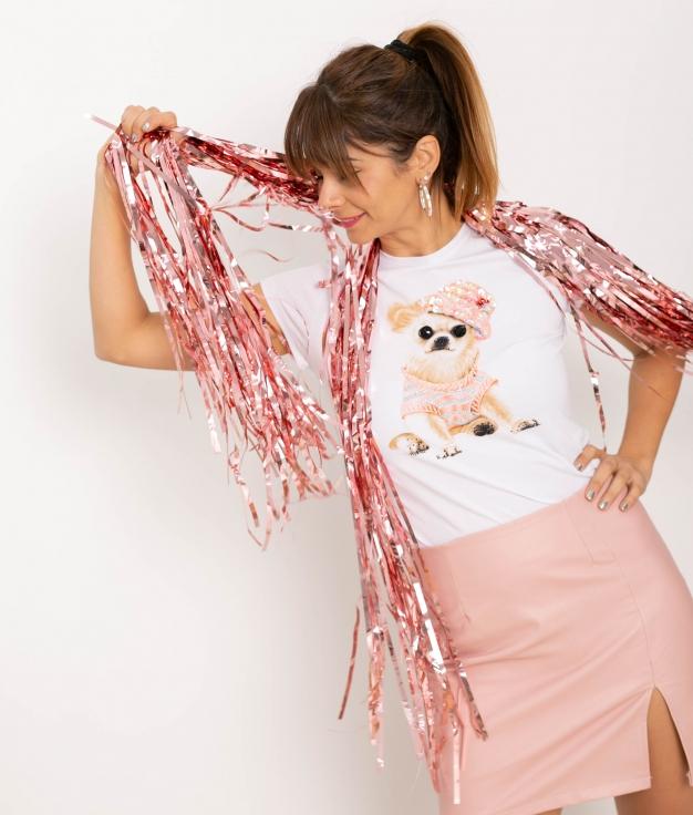 Camiseta Roper - Blanco/Rosa