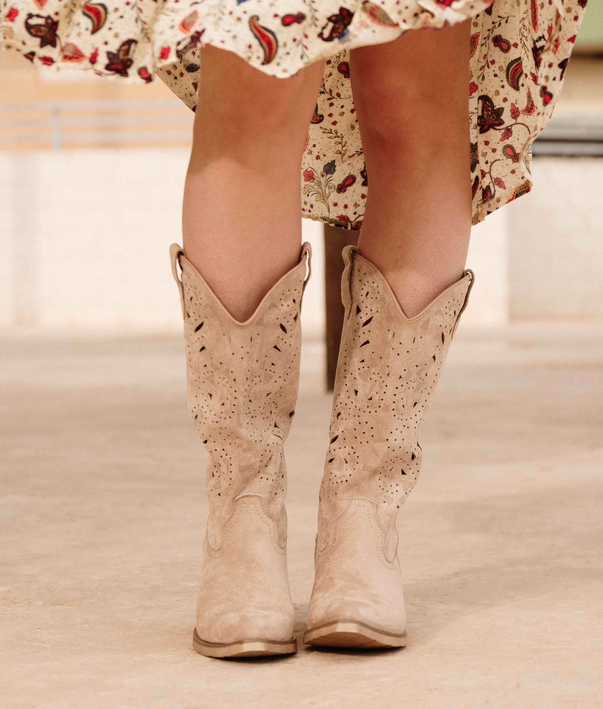 Knee-length Boot Galon - Beige