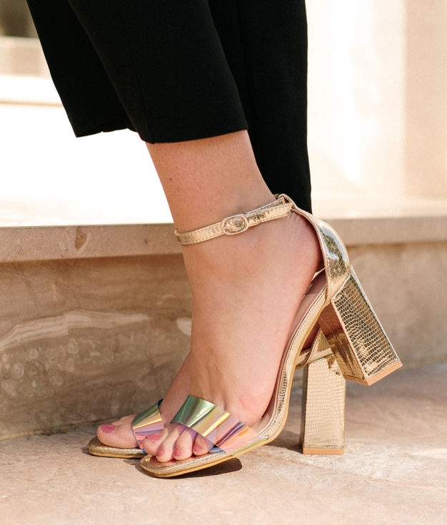 Sandália de Salto Fler - Oro