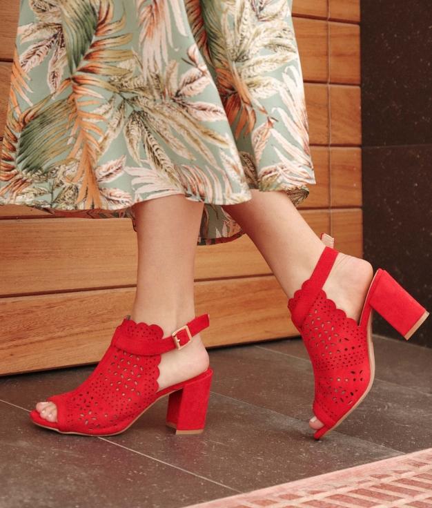 Sandalia de Tacón Folane - Rojo