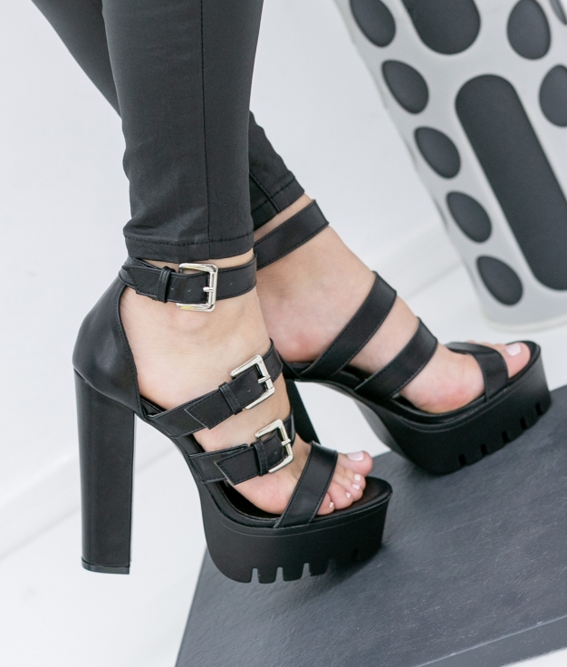 Sandalia de Tacón Palado - Negro