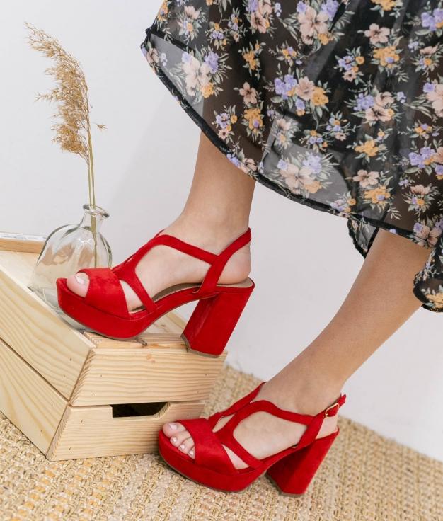 Sandália de Salto Agute - Vermelho