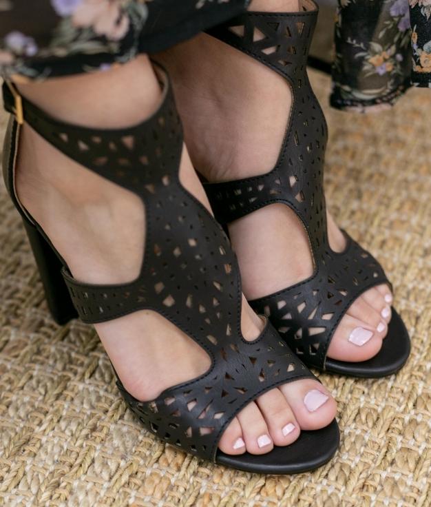Sandalia de Tacón Embis - Negro