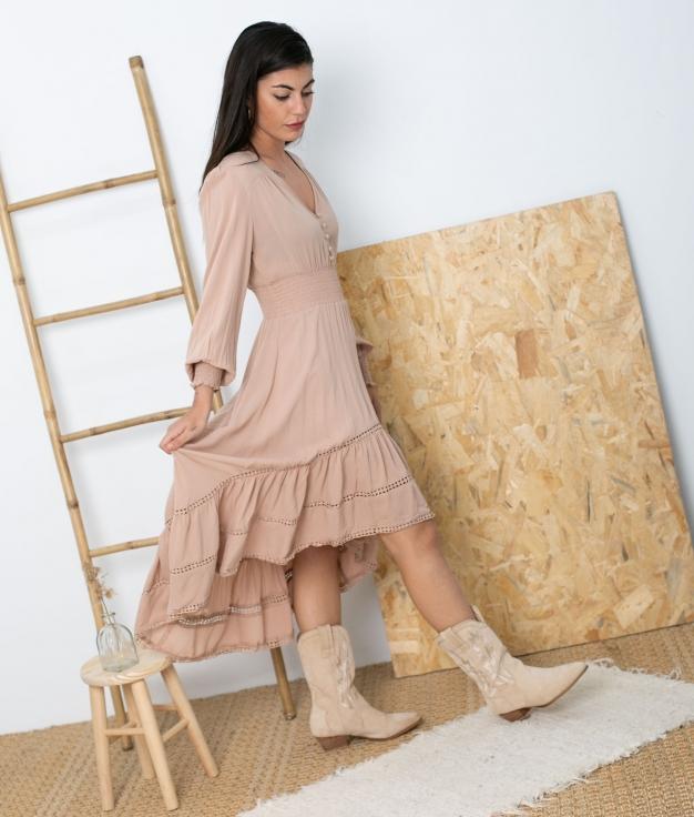 Vestido Sovie -Beige Tostado