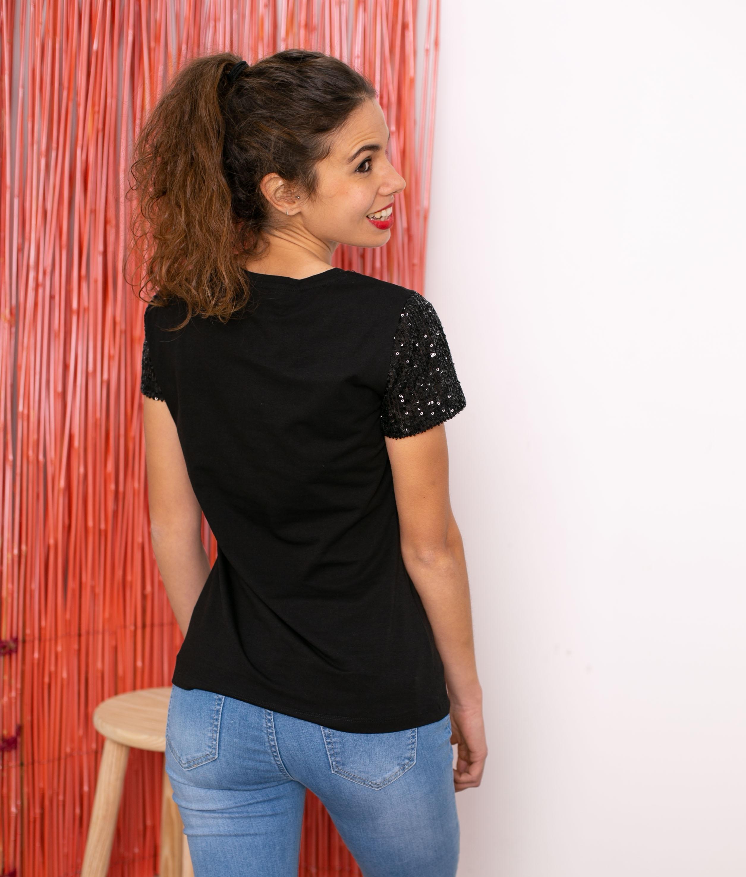 Camiseta Rey - Negro/Turquesa