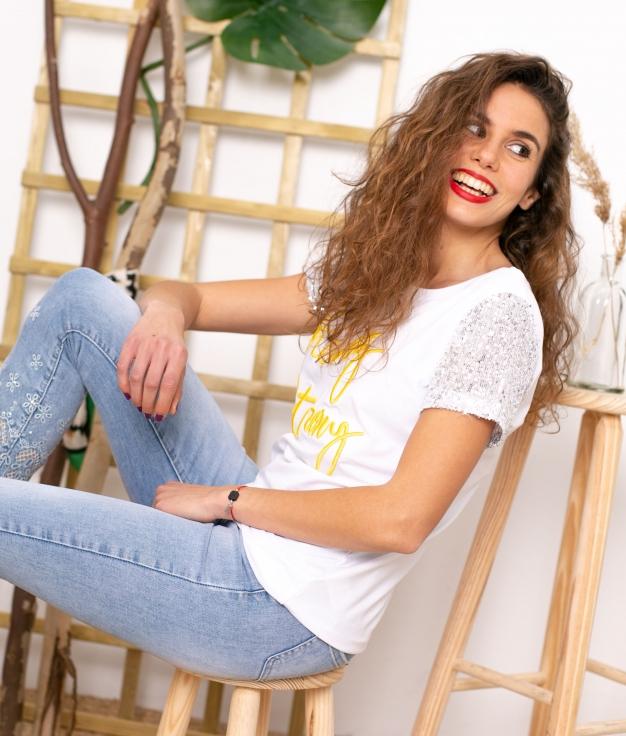 T-shirt Rey - Blanc/Jaune