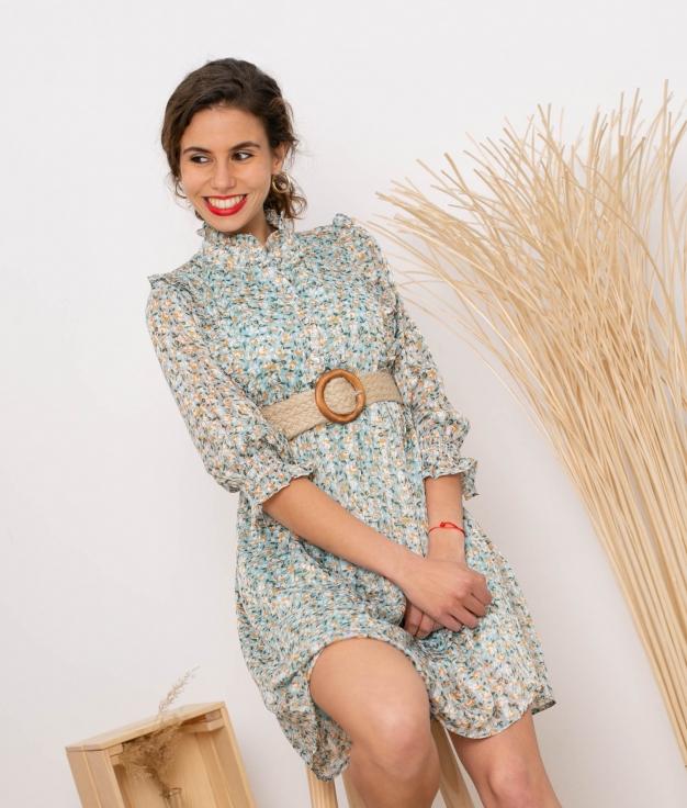 Vestido Pastora - Água-marinha