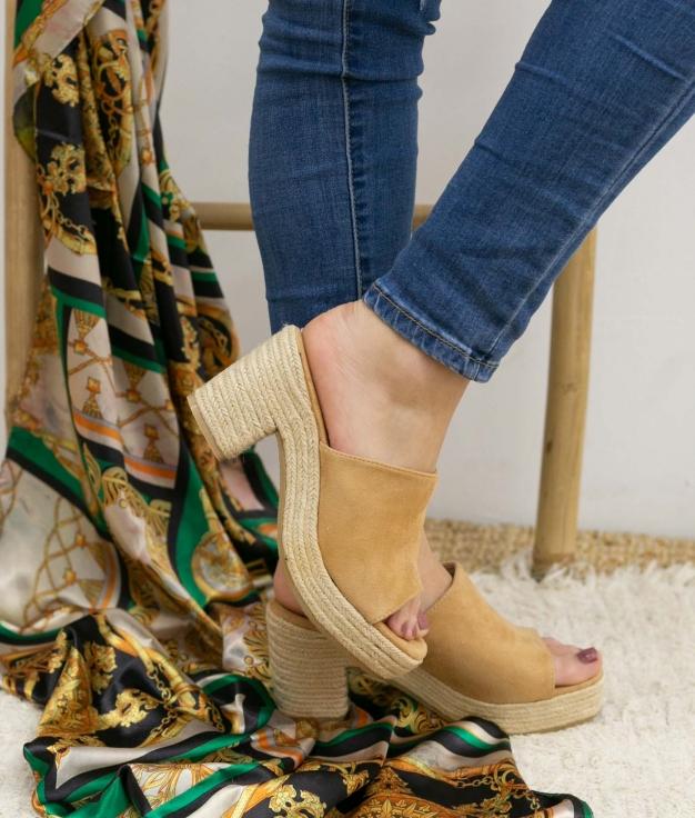Sandalia de Tacón Gon - Camel
